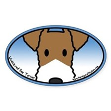 Anime Wirehaired Fox Terrier Oval Decal