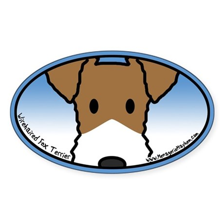 Anime Wirehaired Fox Terrier Oval Sticker