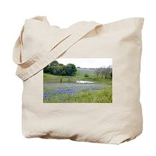 Bluebonnets and Pond Tote Bag