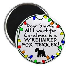 Dear Santa Wirehaired Fox Terrier Christmas Magnet