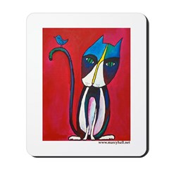 Marcy Hall's Tuxedo Cat & Bird Mousepad