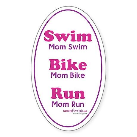 Triathlon Mom Oval Sticker