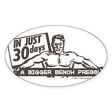 RETRO BENCH PRESS Oval Bumper Stickers