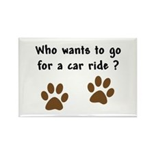 Paw Prints Dog Car Ride Rectangle Magnet