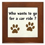Paw Prints Dog Car Ride Framed Tile