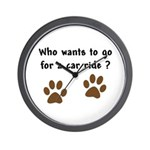 Paw Prints Dog Car Ride Wall Clock