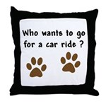 Paw Prints Dog Car Ride Throw Pillow