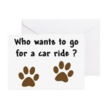Paw Prints Dog Car Ride Greeting Cards (Pk of 10)