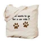 Paw Prints Dog Car Ride Tote Bag