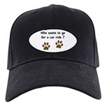 Paw Prints Dog Car Ride Black Cap