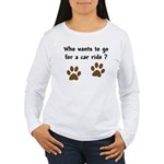 Paw Prints Dog Car Ride Women's Long Sleeve T-Shir