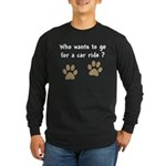 Paw Prints Dog Car Ride Long Sleeve Dark T-Shirt