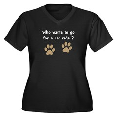 Paw Prints Dog Car Ride Women's Plus Size V-Neck D