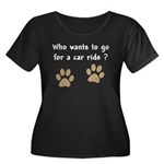 Paw Prints Dog Car Ride Women's Plus Size Scoop Ne