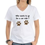 Paw Prints Dog Car Ride Women's V-Neck T-Shirt