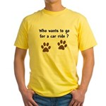 Paw Prints Dog Car Ride Yellow T-Shirt