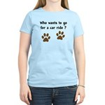 Paw Prints Dog Car Ride Women's Light T-Shirt