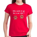 Paw Prints Dog Car Ride Women's Dark T-Shirt