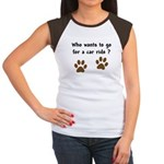 Paw Prints Dog Car Ride Women's Cap Sleeve T-Shirt