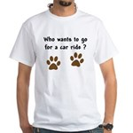 Paw Prints Dog Car Ride White T-Shirt