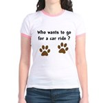 Paw Prints Dog Car Ride Jr. Ringer T-Shirt