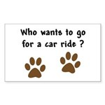 Paw Prints Dog Car Ride Rectangle Sticker