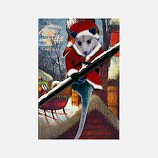 Possum Santa on Rooftop Rectangle Magnet