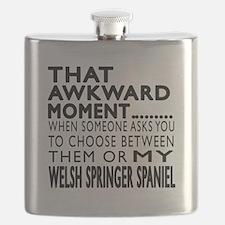 Awkward Welsh Springer Spaniel Dog Designs Flask