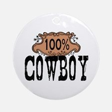 100% Cowboy Ornament (Round)