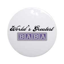 World's Greatest Baba (blue) Ornament (Round)