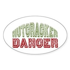 Nutcracker Dancer Christmas Ballet Oval Decal