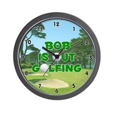 Bob is Out Golfing (Green) Golf Wall Clock