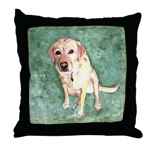 Southern Yellow Lab Throw Pillow by figstreetstudio