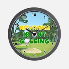 Aryanna is Out Golfing (Gold) Golf Wall Clock