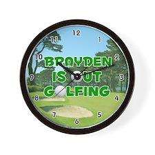 Brayden is Out Golfing (Green) Golf Wall Clock