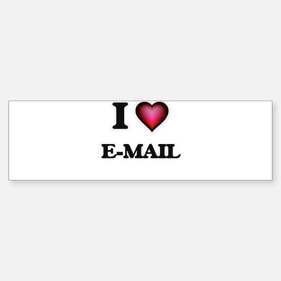 I love E-MAIL Bumper Car Car Sticker