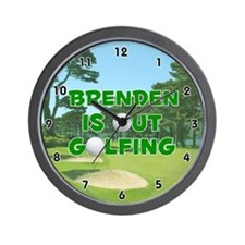 Brenden is Out Golfing (Green) Golf Wall Clock