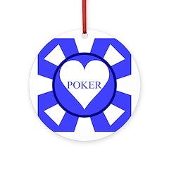 Blue Heart Poker Chip Ornament (Round)