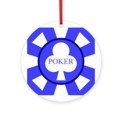 Blue Club Poker Chip Ornament (Round)