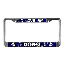 Blue I Love my Dogs License Plate Frame