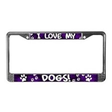 Purple I Love my Dogs License Plate Frame