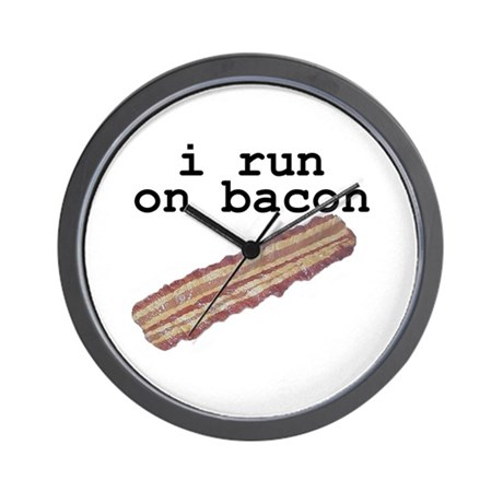 i run on bacon Wall Clock