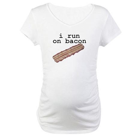 i run on bacon Maternity T-Shirt