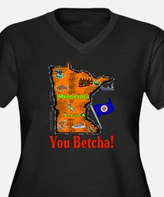 MN-Betcha! Women's Plus Size V-Neck Dark T-Shirt
