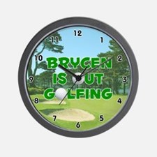 Brycen is Out Golfing (Green) Golf Wall Clock