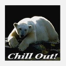 Chill Out Polar Bear Tile Coaster