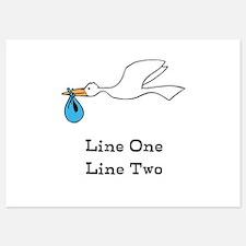 Stork New Baby Custom Two Line Design Invitations