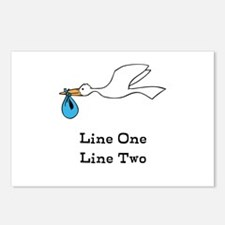 Stork New Baby Custom Two Line Design Postcards (P