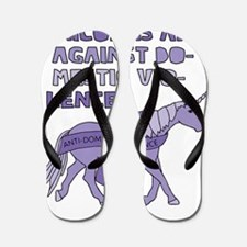 Unicorns Are Against Domestic Violence Flip Flops