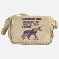 Unicorns Are Against Domestic Violen Messenger Bag
